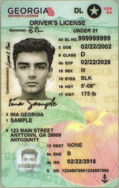 GA DL Under 21 Male License